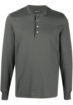 TOM FORD Henley long-sleeve top - Green