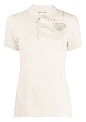 Acne Studios crest-embroidered polo shirt - Neutrals