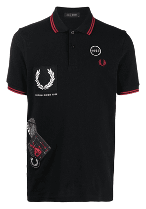 FRED PERRY logo-patch polo shirt - Black