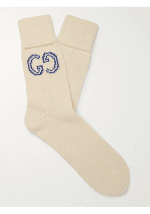 GUCCI - Logo-Intarsia Cotton Socks - Men - White - L