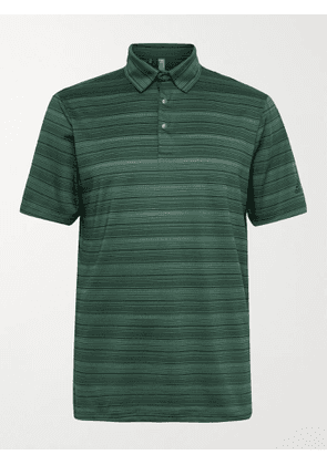 ADIDAS GOLF - Striped Recycled Stretch-Jersey and Mesh Golf Polo Shirt - Men - Green - S