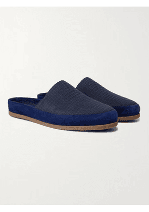 MULO - Hamilton and Hare Suede-Trimmed Waffle-Knit Slippers - Men - Blue - UK 7