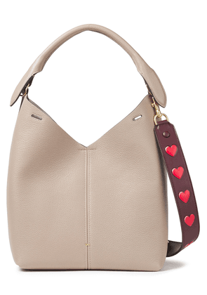 Anya Hindmarch Embellished Textured-leather Shoulder Bag Woman Taupe Size --