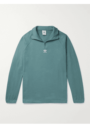 ADIDAS ORIGINALS - Adicolor Classics Logo-Embroidered Loopback Cotton-Jersey Half-Zip Sweatshirt - Men - Green - S