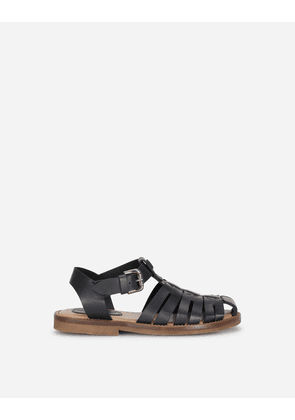 Dolce & Gabbana Shoes (24-38) - Calfskin sandals with DG lettering BLUE male 24
