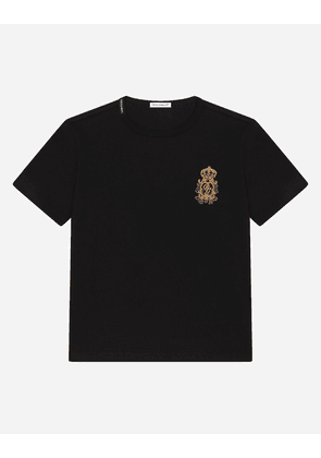 Dolce & Gabbana T-Shirts and Polo - Jersey T-shirt with heraldic DG patch BLACK male 2