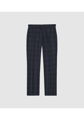 Reiss Oxsted - Wool Slim Fit Checked Trousers in Navy, Mens, Size 28