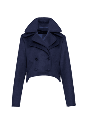 Brandon Maxwell - Women's Layered Wool-Blend Cropped Peacoat - Blue - Moda Operandi