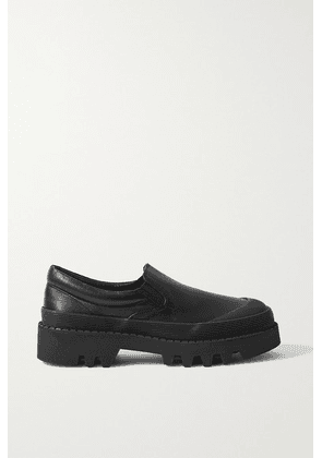 Proenza Schouler - City Rubber-trimmed Leather Loafers - Black