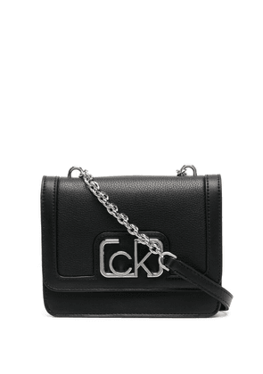 Calvin Klein small logo-plaque shoulder bag - Black