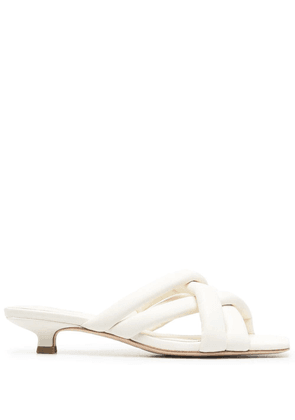 ASH crossover-strap leather mules - White