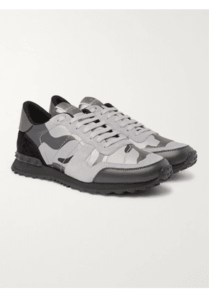 VALENTINO - Valentino Garavani Rockrunner Camouflage-Print Canvas, Leather and Suede Sneakers - Men - Gray - 40