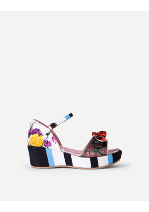 Dolce & Gabbana Shoes (24-38) - Patchwork fabric wedges with bow MULTICOLOR female 24