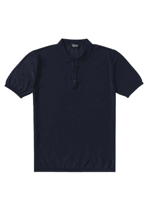 P.P.P. Blue Shaved Cotton Knitted Polo Shirt