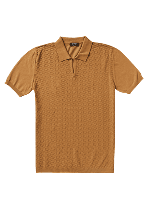 P.P.P. Brown Shaved Cotton Vintage Pattern Knitted Polo Shirt