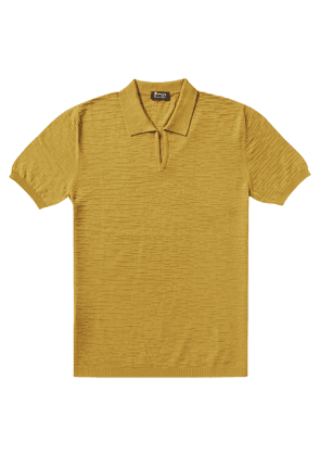 P.P.P. Yellow Shaved Cotton Vintage Pattern Knitted Polo Shirt