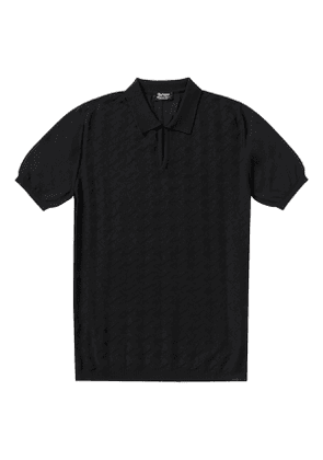 P.P.P. Black Shaved Cotton Vintage Pattern Knitted Polo Shirt