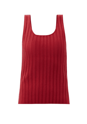 Aje - Overture Ribbed Tank Top - Womens - Red