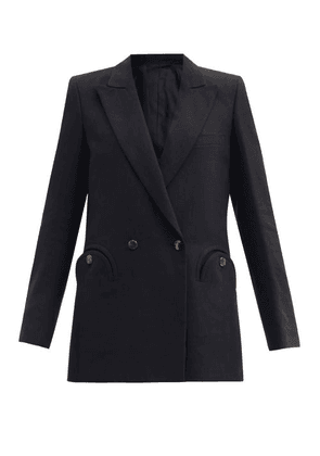 Blazé Milano - Midday Sun Cassis Double-breasted Linen Jacket - Womens - Black