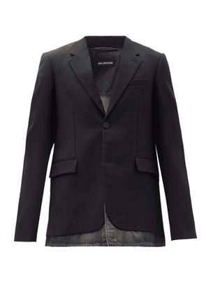 Balenciaga - Single-breasted Denim-hem Wool-blend Jacket - Mens - Black Blue