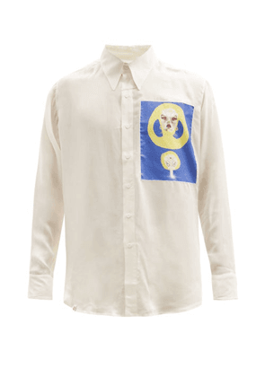 Charles Jeffrey Loverboy - Face Patch Rounded-hem Shirt - Mens - Blue White
