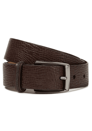 Brunello Cucinelli Bead-embellished Snake-effect Leather Belt Woman Chocolate Size M