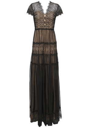 Catherine Deane Nyree Lace-paneled Gathered Chiffon Gown Woman Black Size 12