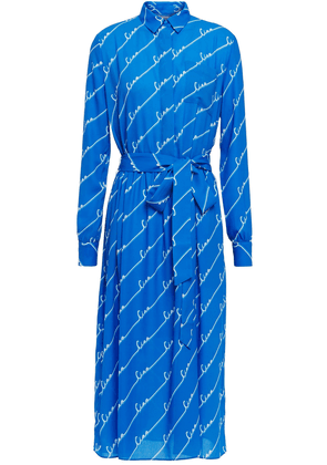 Chinti & Parker Belted Printed Crepe De Chine Midi Shirt Dress Woman Royal blue Size 8
