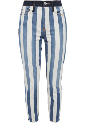 Current/elliott The Stiletto Cropped Striped High-rise Skinny Jeans Woman Mid denim Size 26