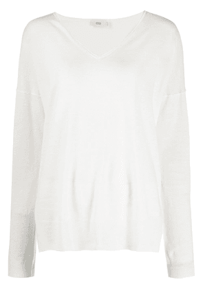 Closed relaxed-fit v-neck jumper - White