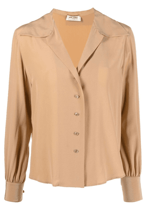 Saint Laurent open-collar silk blouse - Neutrals