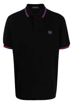 FRED PERRY logo-embroidered polo shirt - Black