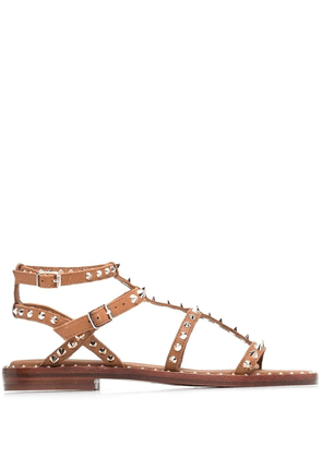 ASH Play studded leather sandals - Brown