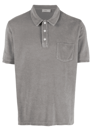 Closed chest-pocket cotton-blend polo shirt - Grey