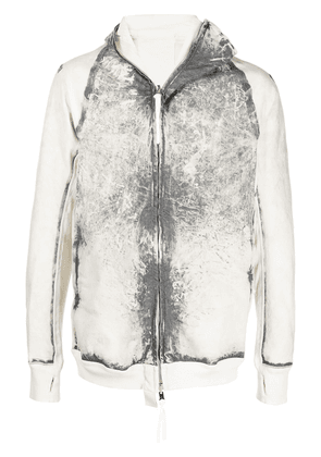 Boris Bidjan Saberi hybrid zipped-front hooded jacket - White