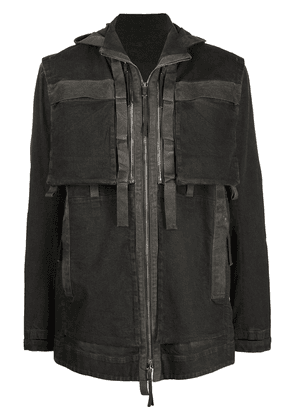 Boris Bidjan Saberi hooded denim parka jacket - Grey
