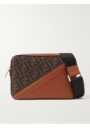 FENDI - Logo-Print Coated-Canvas and Leather Messenger Bag - Men - Brown