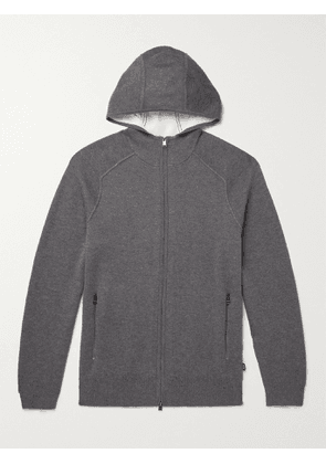 HUGO BOSS - Slim-Fit Cotton, Wool and Cashmere-Blend Hoodie - Men - Gray - S