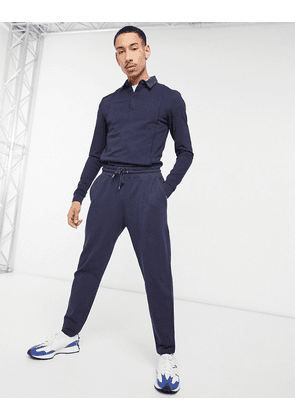 ASOS DESIGN co-ord tapered joggers in pique with fixed hem in navy