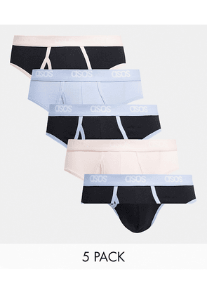 ASOS DESIGN 5 pack briefs with pastel waistbands-Multi