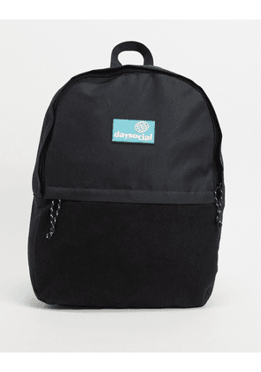 ASOS Daysocial backpack in black nylon and fleece