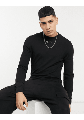 ASOS DESIGN muscle sweatshirt with small Roman numerals print in black