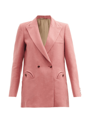 Blazé Milano - Midday Sun Cassis Double-breasted Linen Jacket - Womens - Pink