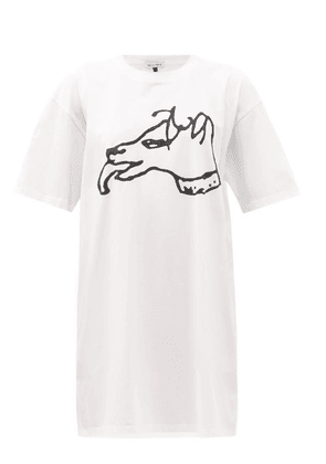 Bella Freud - Dog-print Organic-cotton Jersey T-shirt Dress - Womens - White