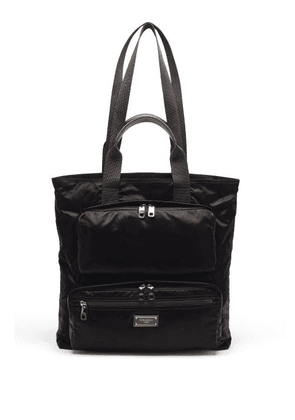 Dolce & Gabbana - Logo-plaque Garment-dyed Shell Tote Bag - Mens - Black