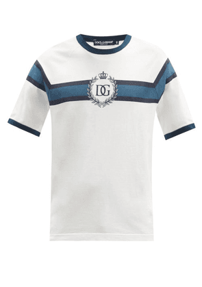 Dolce & Gabbana - Crest-print Striped Cotton-jersey T-shirt - Mens - White Multi