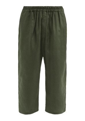 By Walid - Juan Upcycled-silk Cropped Trousers - Mens - Green