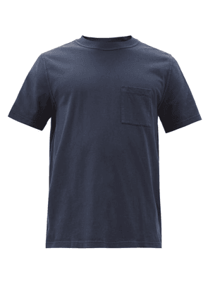 Albam - Patch-pocket Pigment-dyed Cotton-jersey T-shirt - Mens - Navy