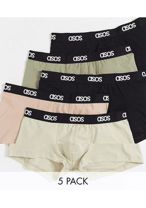 ASOS DESIGN 5 pack short trunks with branded waistband-Multi