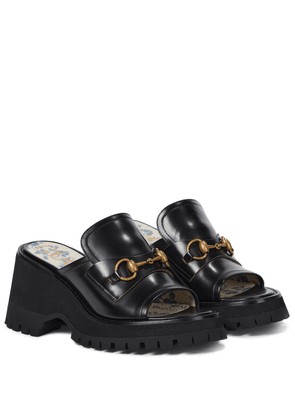 Horsebit leather platform sandals